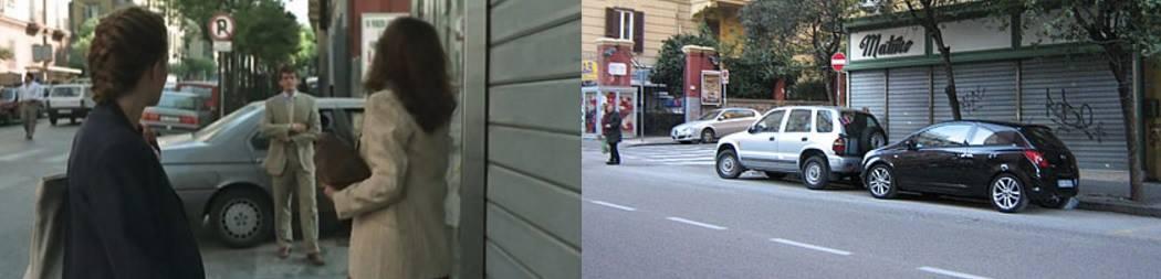 Scena del film all'esterno del negozio (screenshot).                        Esterno del negozio oggi.  Fonte: Google Map