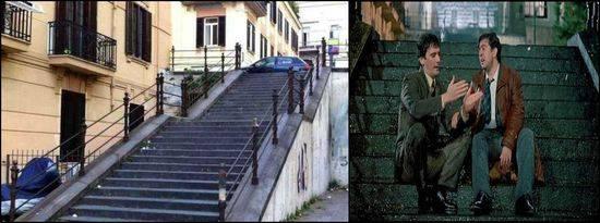 Scalinata di via Crispi: oggi e ieri. Fonte: reportmgazine.it