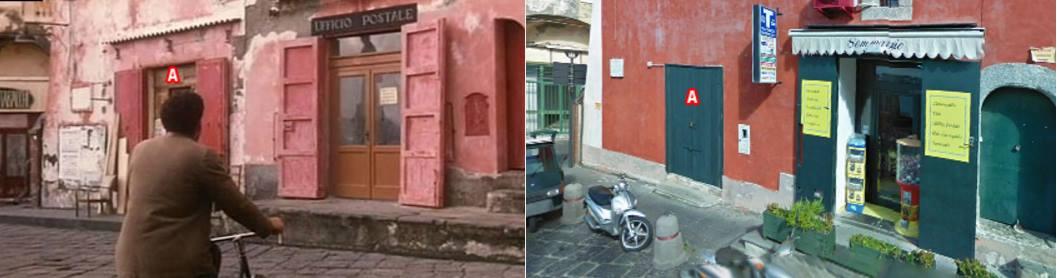 Ufficio postale  nel film e come si presenta oggi.  Fonte: Davinotti.com
