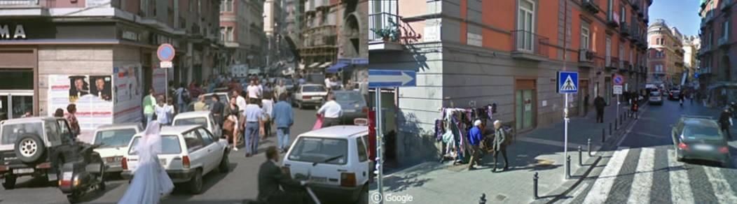 La scena nel film del 1991. Screenshot                                                  Via Filangieri oggi. Fonte: Goolge Map