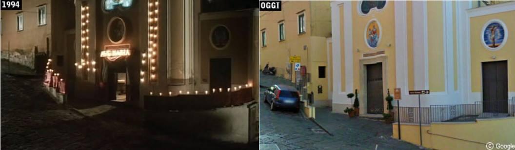 """La chiesa de """"Il postino"""" ieri e oggi. Fonte: Davinotti.com"""