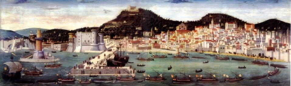 """""""La Tavola Strozzi è un dipinto olio su tavola (82x245 cm) di autore ignoto, forse Francesco Rosselli (alcuni dicono addirittura Da Vinci n.d.r.), databile al 1472 e conservata nel Museo nazionale di San Martino di Napoli. Rappresenta una veduta di Napoli del XV secolo."""" Fonte: Wikipedia"""