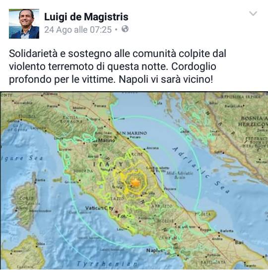 Dalla pagina facebook ufficiale del Sindaco De Magistris