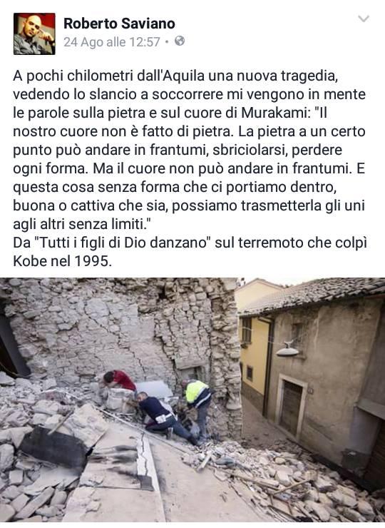 Dalla pagina facebook ufficiale di Roberto Saviano
